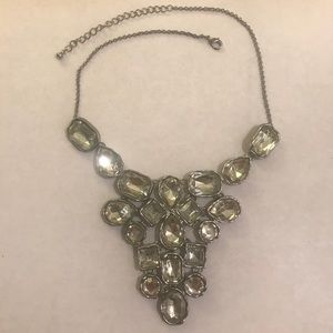 Old Navy clear gemstone silver statement necklace